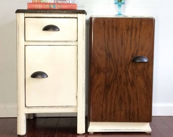 Clearence       Set of two vintage hand made end tables or nightstands