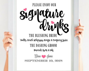 Signature Drink Sign | Wedding Reception Sign | Romantic Wedding Bar Signature Cocktails PDF | SKU# CWS303_3022C