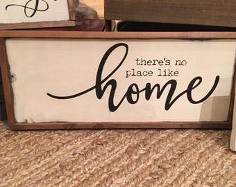 No Place Like Home - Home - Wooden Sign - Family Room - Gallery Wall - Farmhouse - Rustic - New Home Sign - Wedding - Home Decor - Shabby