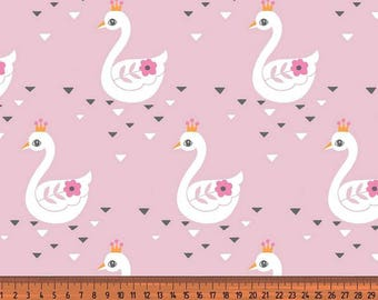 Beautiful Swan Princess cotton jersey, three different colours, pink, mint and fuchsia, one unit is 0.5 metre