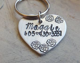 Pet Id Tag. Heart Shaped. Hand Stamped with Dog name and your phone number. Pet Name Tag. Collar. Leash. Pet Accessory.