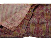 Reversible Pure Silk Indian Vintage Kantha Scarf  Sari Stole Women Shawl Handmade Scarve