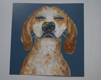Postcard dog blue