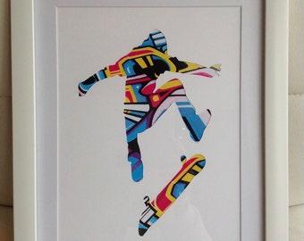 A4 - Skateboarder Graffiti Silhouette Picture