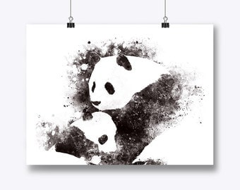 Panda Art Print, Panda Painting, Baby Panda, Panda Illustration, Animal Art, Panda Wall Art, Panda Gift, Animal Family, Nursery, Home Decor