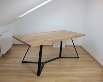 Oak and steel Y dinning table - SOLD