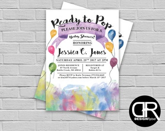 """CUSTOMIZABLE Baby Shower """"Ready to Pop!"""" Balloon theme invitation. Fully Customizable! Digital download only."""