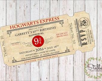 Harry Potter Hogwarts Express Ticket Party Invitation