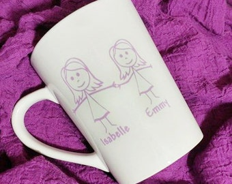 Father's Day Coffee Cup Mug Gift-Stick People-Personalized-Family-Gift for Dad-Stick Figure Family-Father's Day Gift
