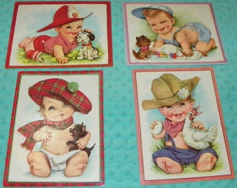 Adorable Set of Four Frameable Vintage Baby Boy Cards 9.5 X 7.5 Inches