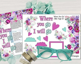 """Printable """"Ruth"""" Bible Journaling Page Kit -Complete kit for Bible Pages or Journals. Fits all Journaling Bibles."""