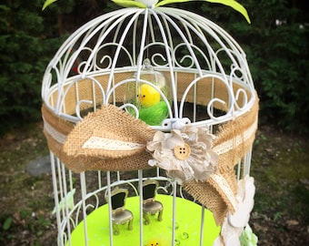 Wedding URN, birdcage spring theme
