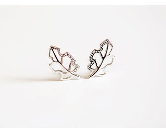 sterling silver branch and leaf earrings, leaf stud earrings, branch stud earrings, leaf earrings, branch earrings, plant earrings