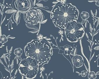 Line Drawings Bluing in Knit, Art Gallery Knit Fabric Half Yard