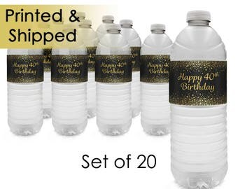 40th Birthday Gold Glitter Theme Party Water Bottle Labels - 40th Party Supplies - Turning 40 Years Party Favor - 40 Party Decor (Set of 20)