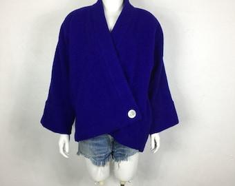 Vtg 80s avant garde cocoon kimono origami inky purple wool coat jacket japanese