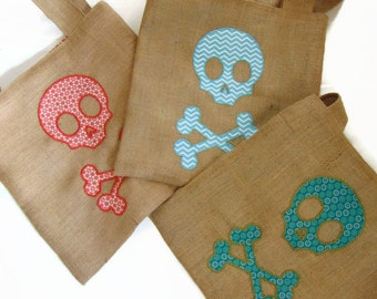 Tote bag in jute fabric, skull design in fabrics, 3 models to choose from