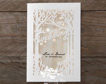 Wedding Invitation | Custom invitations | Unique invitations | Wedding stationery | Elegant invites - Splendid Laser Cut Scenery