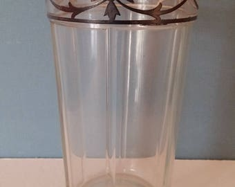 Vintage Heisey Water Glass with Silver Overlay