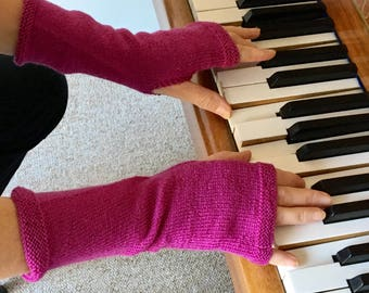 Hand knitted Hand Warmers in Rowan 'Botany' pure wool. pink/mauve