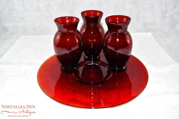 15 Off Coupon On Vintage Anchor Hocking Royal Ruby Red Glass Vase