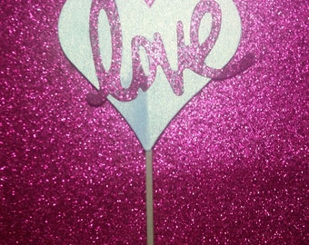 set of 5 glitter love heart pic