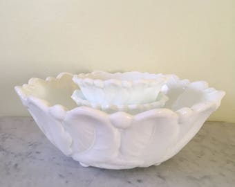 Vintage Indiana Glass milkglass Bowl and Candleholders Wild Rose pattern cottage style dining decor vintage wedding decor