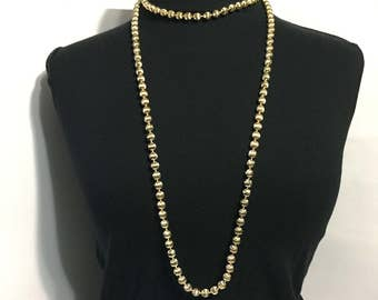 Gold Beaded Necklace - Long Necklace - Gold Tone - Hong Kong