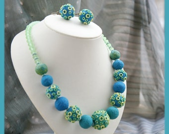 "Jewellery sets, dainty jewelery, dainty earrings,n ecklace ""From blue to green""."