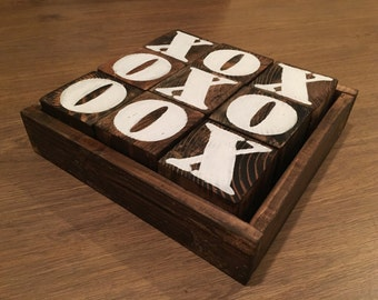 Wood Tic Tac Toe Game, hand painted wood game, coffee table game, family game, camping wood game, customizable game, wedding gift