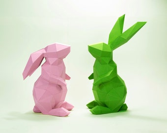 Bunny Model , Rabbit Model , Bunny paper , Rabbit paper ,Bunny low poly , papercraft, DIY, 3D, trophy, papermodel, Sculpture