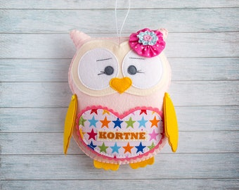 Pink plushie toy gift Personalized owl Baby toys Stuffed owl Girl birthday Little girl gifts owl Tooth fairy pillow Kids room decorations