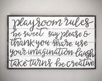 Custom Wood Playroom Sign - Children's Playroom Rules Sign - Customizable Handlettered 22x36 Wooden Kid's Playroom Sign - Custom Wood Signs
