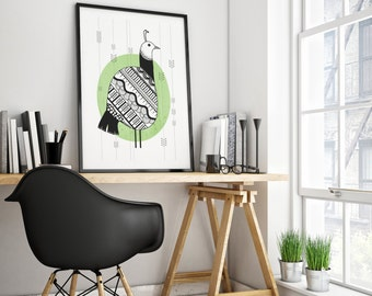 The Peahen : black and white, bohemian and contemporary, folk style art print of a peahen bird