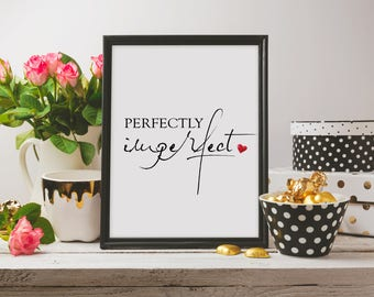 Perfectly Imperfect Inspirational Motivational Quote Typography Wall Art Red Watercolour Heart Print
