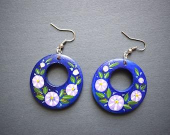 Painted wooden earrings folk style Earrings handmade Handmade Jewelry Wooden jewelry Painted jewelry Folk style jewelry Flowers on earrings