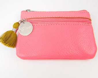 Pink Personalized Change Purse, Engraved Leather Coin Purse, Pink Custom Wallet ID Card Zip Pouch, Pink Gift for Her Mom Girlfriend