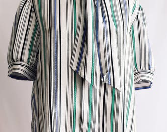 Stripe blouse with tie at neck.
