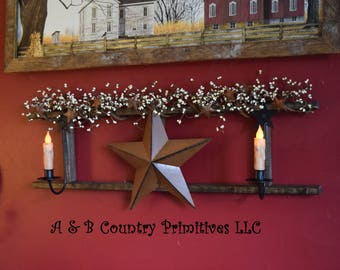 Decorated Country Ladder with Metal Sconces, Metal Barn Star, and Berry Garland, Primitive Home Decor, Country Chic Home Decor