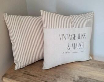 Vintage Market Pillow Cover - Farmhouse Pillow Cover - Farmers Market Pillow - Vintage Pillow Cover - Ticking Pillow - Grain Sack Pillowcase