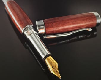 Curly Purple Heart Wood Fountain Pen - Chrome Hardware