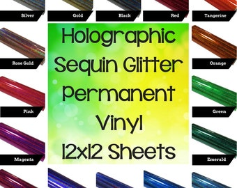 Holographic Sequin Glitter Vinyl/Specialty Glittery Vinyl/Permanent Glitter Vinyl/Gloss Glitter Vinyl/Sparkle Vinyl/Rainbow Glitter Sequins