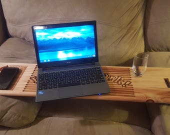 Recliner Laptop Table Tray Custom Made to Order Pine Caddy Shelf Tablet Cell Phone Holder Back to Work Wood Mom Dad Grad Gift