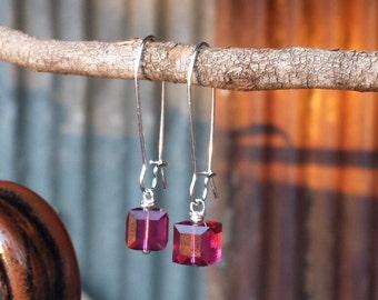 Silver and Fuchsia Crystal Cube Dangle Earrings