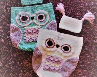 crochet owl baby cocoon with matching hat, baby photo shoot props, Premie, 0-3 months, 3-6 months, tassles or pom poms,