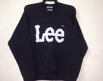 Rare!!! VINTAGE LEE sweatshirt big logo pullover crewneck made in USA