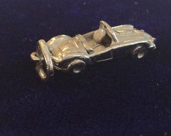 Sterling silver convertible sports racing car charm vintage #1036