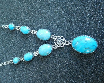 Howlite Blue Turquoise seven stone necklace
