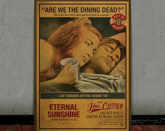 Eternal sunshine of the spotless mind, Jim Carrey, Colored retro classic movie poster