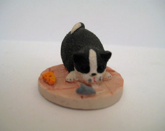 Black Cat and  Mouse Figurine